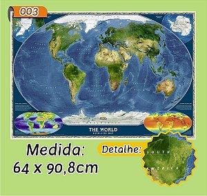 Mapa Mundi em Painel de Lona - Modelo 3