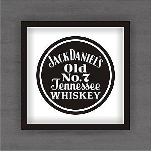 Quadro Decorativo Jack Daniels Redondo Com Moldura