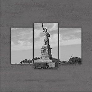 Quadro Decorativo Cidades Paisagens 75x50cm Estatua da Liberdade Sala Quarto