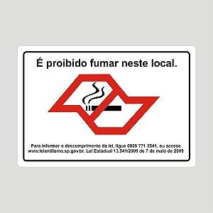 Placa Proibido Fumar Estado de São Paulo 25cm x 17 cm em PVC