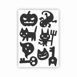 Kit 5 Cartelas de Adesivos para Halloween