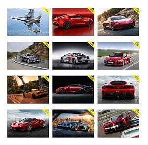 Quadros Placas Decorativas Carros Esportivos e Aviões - Medida: 30 cm x 20 cm