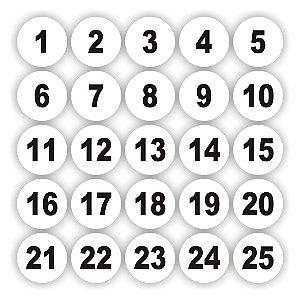 Adesivos numerados de 1 a 50 Redondo fundo branco medida 5cm