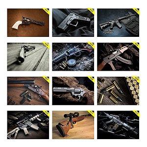 Kit 12 Placas Decorativas 30x20cm Armas Guns Gun