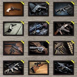 Kit 3 Placas Decorativas 30x20cm Armas Gun Com Moldura