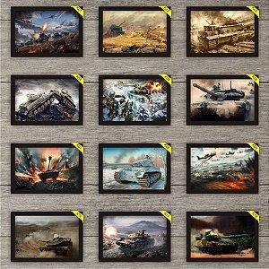 2 Placas Decorativas 30x20cm Tanques De Guerra Com Moldura