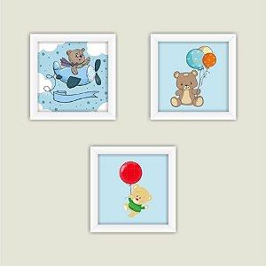 Kit 3 Quadros Infantis Bebe Com Moldura Ursinhos Crianças