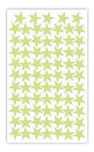 Cartela Etiqueta Adesivo Brilha No Escuro - Estrelas 4cm