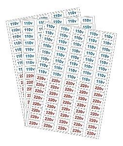 Kit 240 Etiquetas Adesivo Voltagem Tomada 110v E 220
