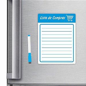 Imã De Geladeira Planner Lista De Compras 20x15cm Azul Claro