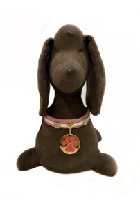 Gargantilha COURO ROSE  - Angel Pet Desing