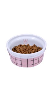 COMEDOURO PORCELANA GRID ROSE P - Woof