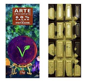 Chocolate 60% cacau com pistache 75g - Arte Chocolate