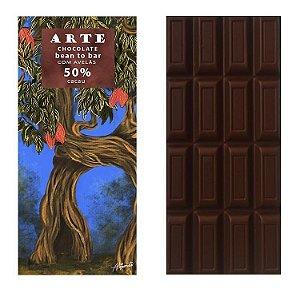 Chocolate 50% cacau com avelã 75g - Arte Chocolate