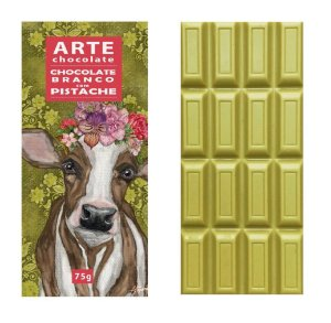 Chocolate branco com pistache 75g - Arte Chocolate