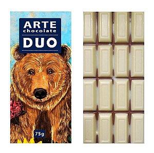 Chocolate Duo chocolate branco e ao leite vegano 75g - Arte Chocolate