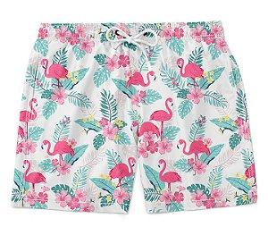 Short bermuda flamingo floral masculino moda verão