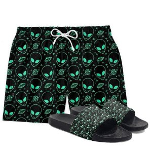 Kit Short Praia Bermuda e Chinelo Alien