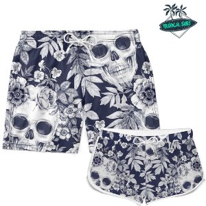 Kit Casal Short Praia Floral Skull
