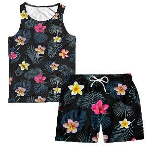 Kit Regata e Short Masculino Floral