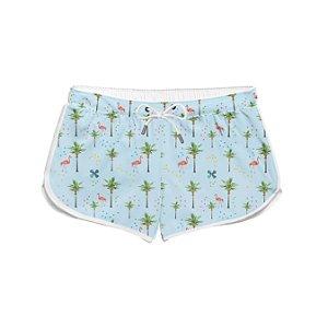 Short Feminino Flamingos Coqueiros Verão Praia