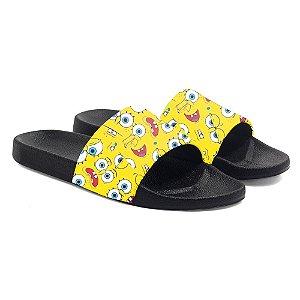 Chinelos slide benassi unissex Sponge Bob Square Pants