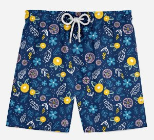 Short Praia Infantil Summer Flowers