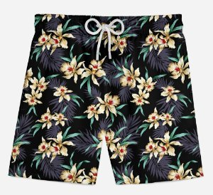 Short Praia Infantil Golden Flowers