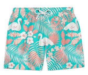 Bermuda Short Praia Verão Tropic Flamingo