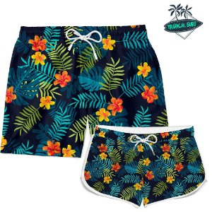 Kit Casal Short Praia Summer Flowers