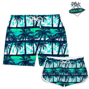 Kit Casal Short Praia SUMMER BEACH COCONUT TREE