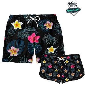 Kit Casal Short Praia Little Flowers
