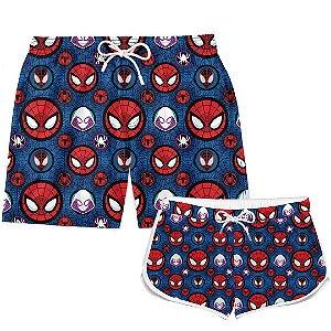 Kit Casal Short Verão Spider Man