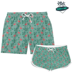 Kit Casal Short Verão Flamingos Tropical