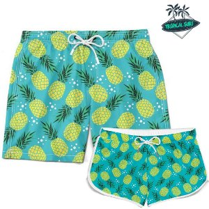 DUPLICADO - Kit Casal Short Verão Flamingos Tropical