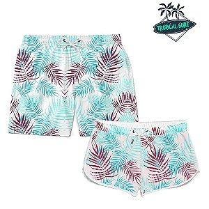 Kit Casal Short Verão Tropical Folhas