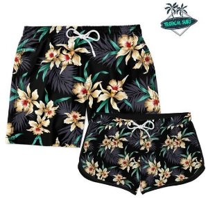 KIT CASAL SHORT PRAIA GOLDEN FLOWERS
