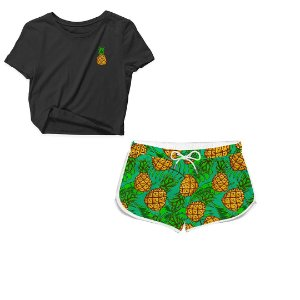 Kit Camiseta Cropped e Short Praia Abacaxi