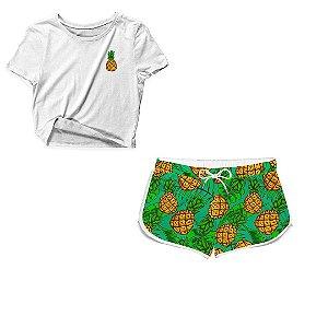 Kit Camiseta Cropped e Short Praia Abacaxi Branco