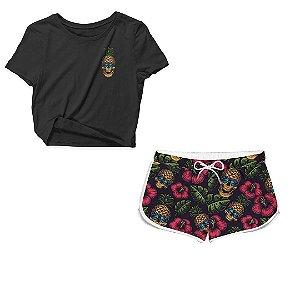 Kit Camiseta Cropped e Short Praia Surfer Pineapple