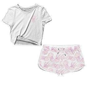 Kit Camiseta Cropped e Short Praia Água-Viva