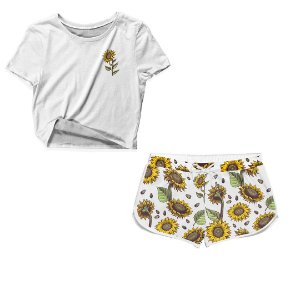Kit Camiseta Cropped e Short Praia Girassol