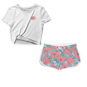 Kit Camiseta Cropped e Short Praia Floral