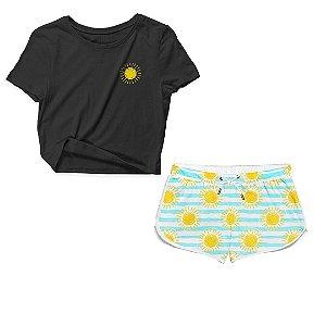 Kit Camiseta Cropped e Short Praia Sun