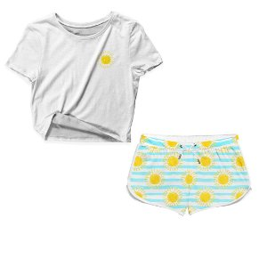 Kit Camiseta Cropped e Short Praia Sun