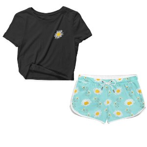 Kit Camiseta Cropped e Short Praia Flor