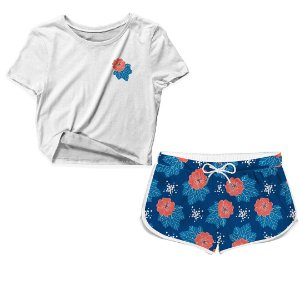 Kit Camiseta Cropped e Short Praia Florido