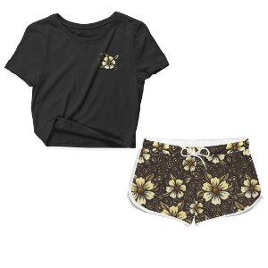 Kit Camiseta Cropped e Short Praia Flower