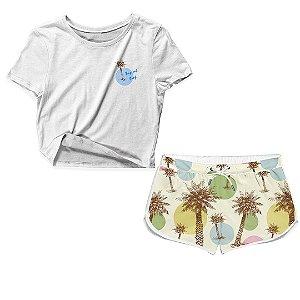 Kit Camiseta Cropped e Short Praia Coqueiro