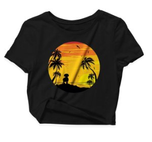 Camiseta Cropped Dog Pôr-do-sol